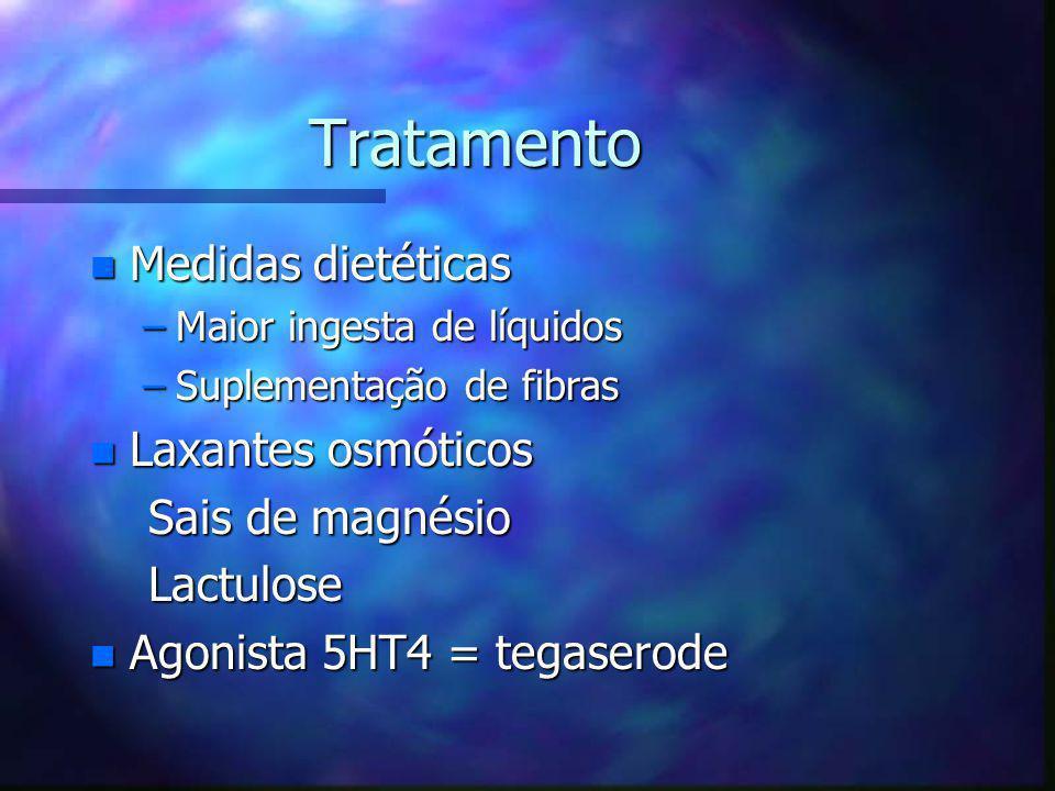 Tratamento n Medidas dietéticas –Maior ingesta de líquidos –Suplementação de fibras n Laxantes osmóticos Sais de magnésio Sais de magnésio Lactulose L