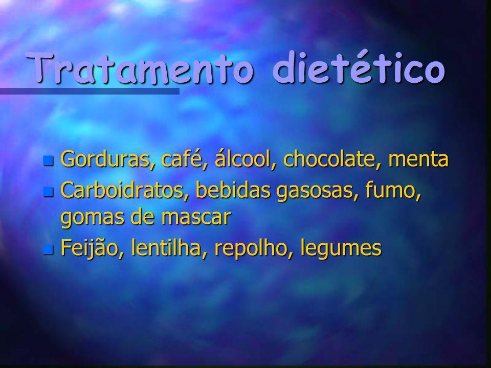 Tratamento dietético n Gorduras, café, álcool, chocolate, menta n Carboidratos, bebidas gasosas, fumo, gomas de mascar n Feijão, lentilha, repolho, le