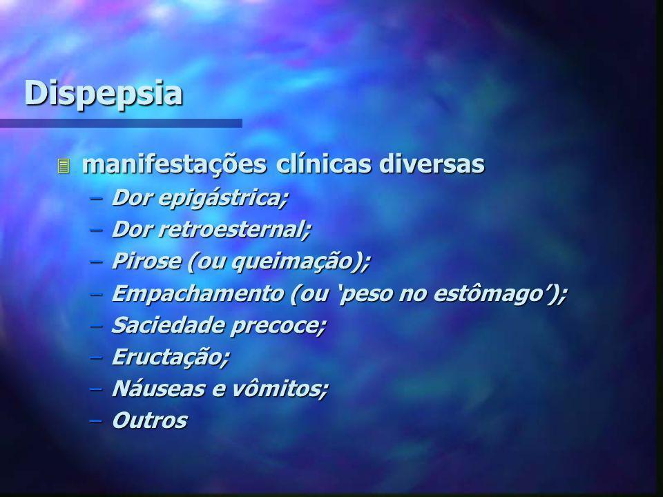 Dispepsia 3 manifestações clínicas diversas –Dor epigástrica; –Dor retroesternal; –Pirose (ou queimação); –Empachamento (ou 'peso no estômago'); –Saci