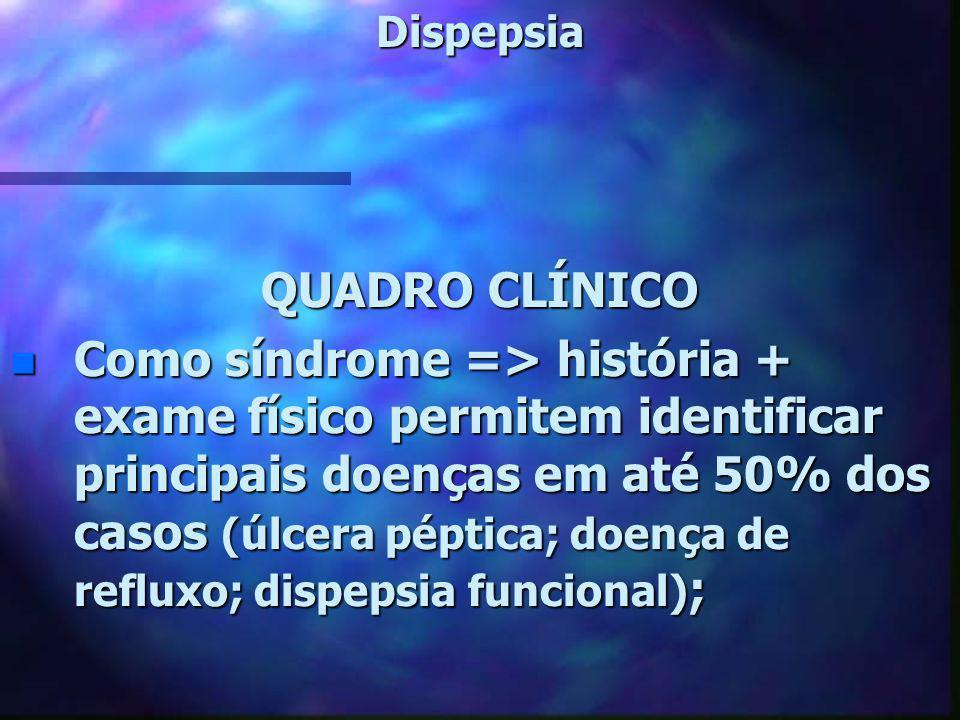 Dispepsia n Três quadros clínicos principais => 1- Dispepsia funcional dor localizada em epigástrio, pode ter irradiação média intensidade, melhora com alcalinos sintomas com periodicidade diagnóstico diferencial com ulcera péptica