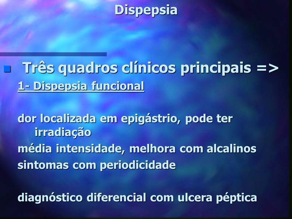 Dispepsia n Três quadros clínicos principais => 1- Dispepsia funcional dor localizada em epigástrio, pode ter irradiação média intensidade, melhora co
