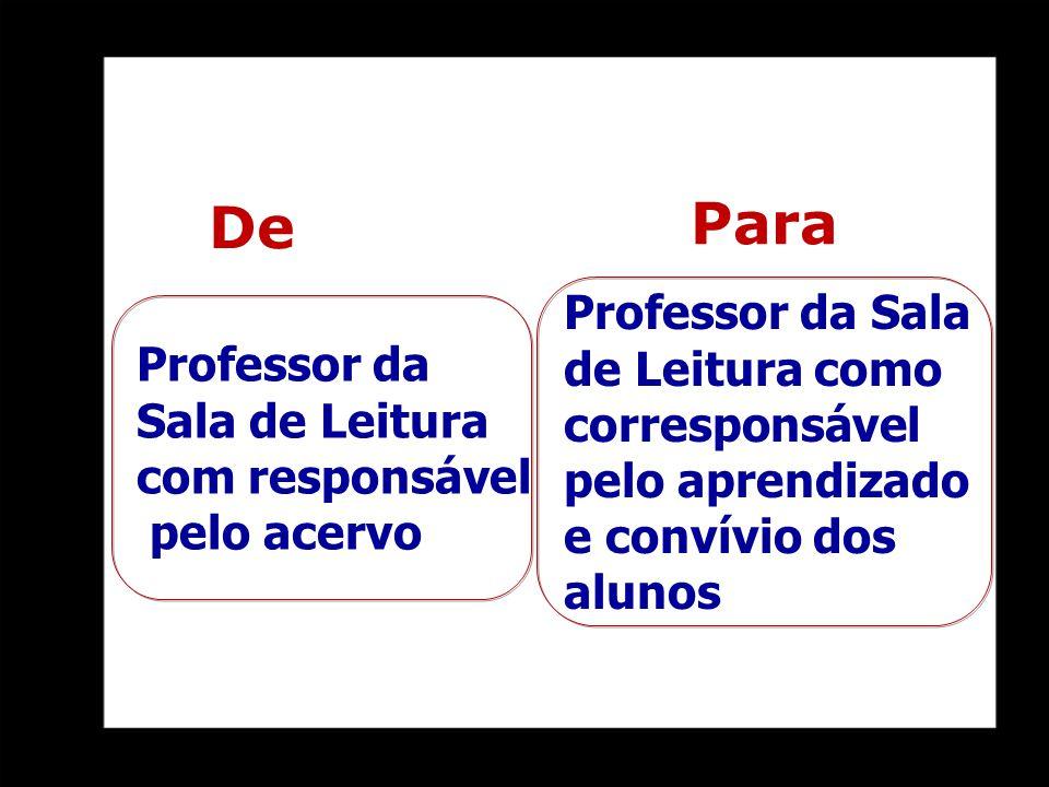 Para De Professor da Sala de Leitura como corresponsável pelo aprendizado e convívio dos alunos Professor da Sala de Leitura com responsável pelo acer