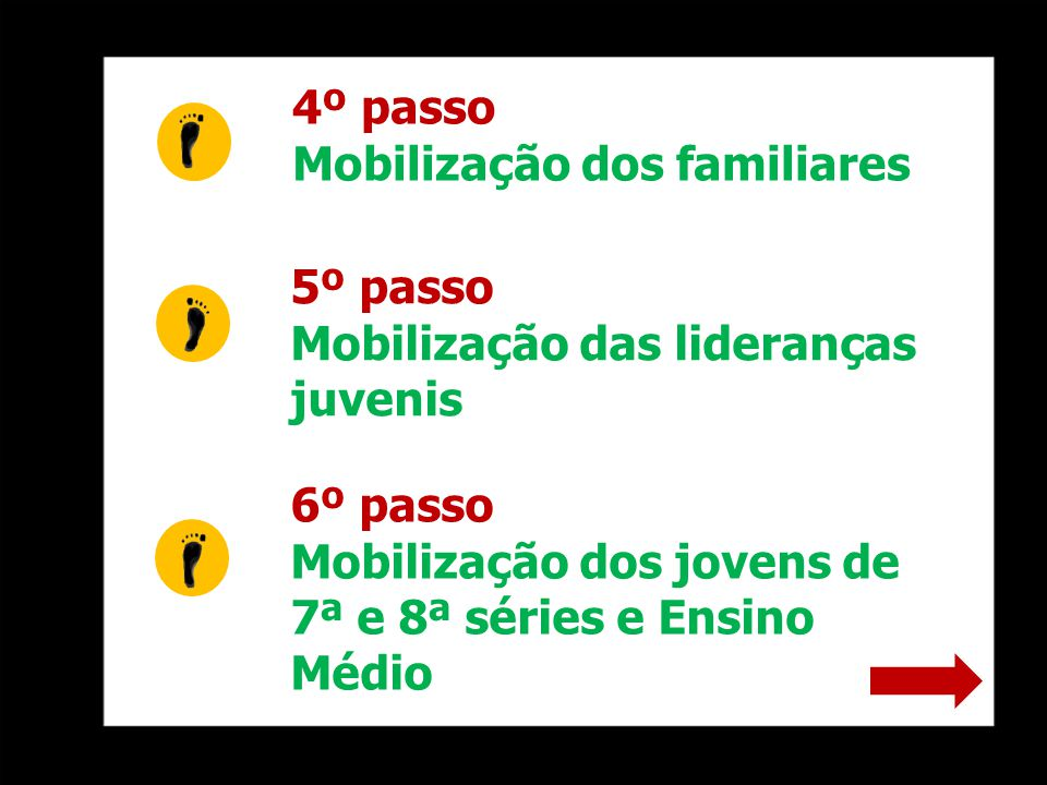 4º passo Mobilização dos familiares 5º passo Mobilização das lideranças juvenis 6º passo Mobilização dos jovens de 7ª e 8ª séries e Ensino Médio