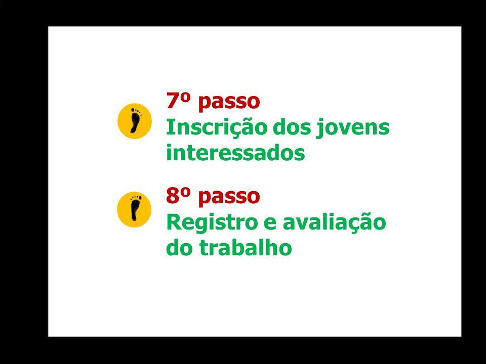 7º passo Inscrição dos jovens interessados 8º passo Registro e avaliação do trabalho