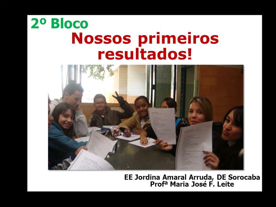 Nossos primeiros resultados! EE Jordina Amaral Arruda, DE Sorocaba Profª Maria José F. Leite 2º Bloco
