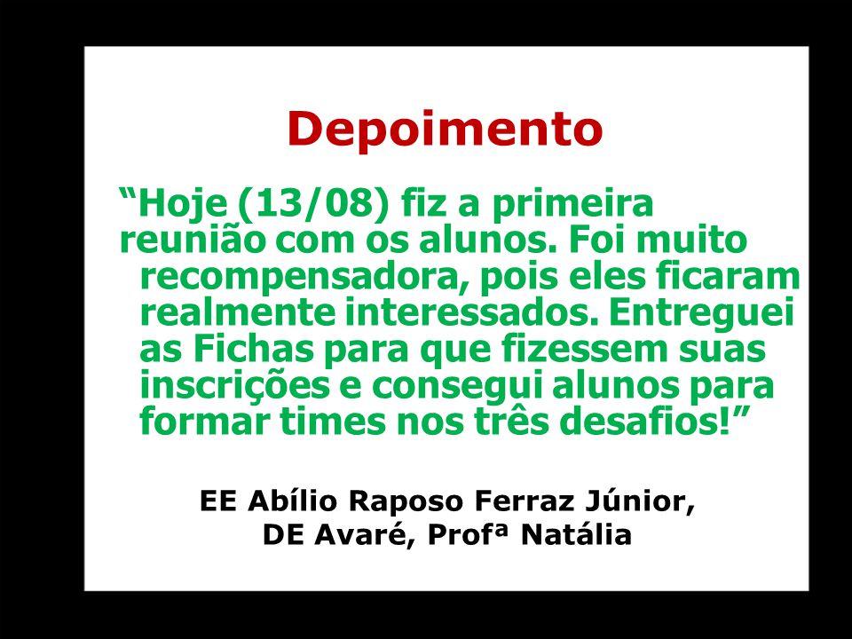 """""""Hoje (13/08) fiz a primeira reunião com os alunos. Foi muito recompensadora, pois eles ficaram realmente interessados. Entreguei as Fichas para que f"""