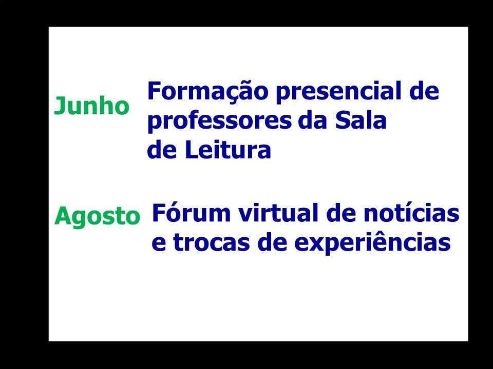 Formação presencial de professores da Sala de Leitura Fórum virtual de notícias e trocas de experiências Junho Agosto