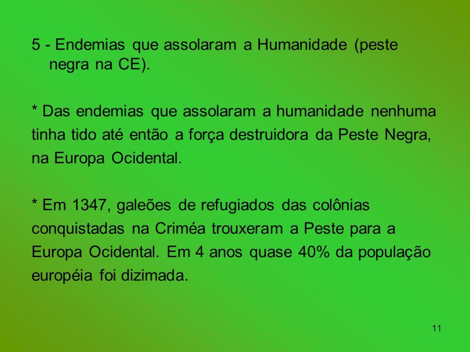 11 5 - Endemias que assolaram a Humanidade (peste negra na CE).