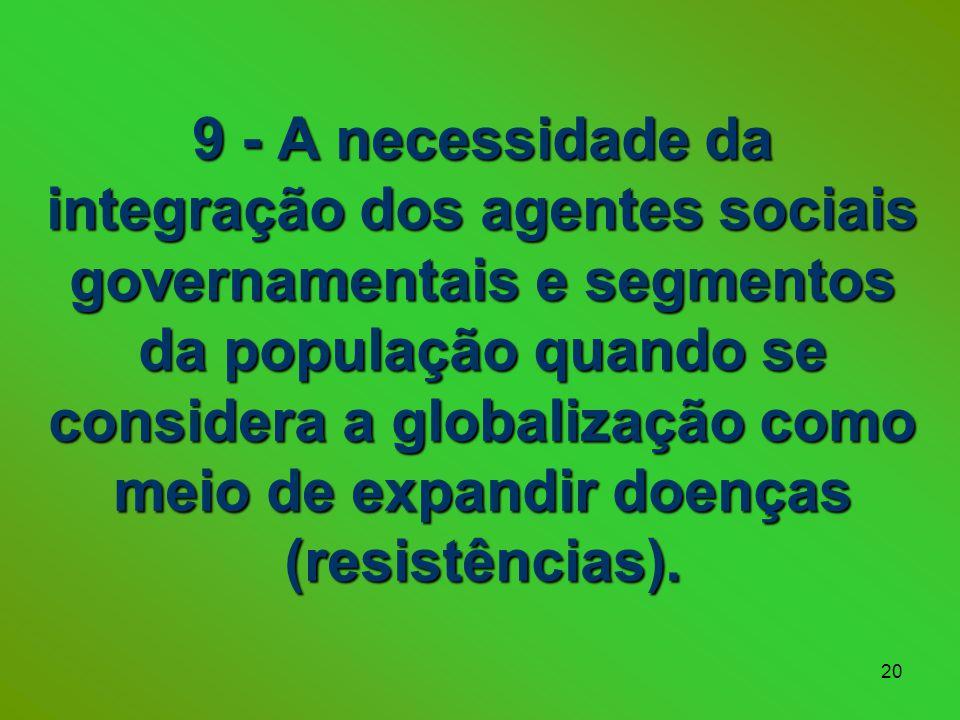 20 9 - A necessidade da integração dos agentes sociais governamentais e segmentos da população quando se considera a globalização como meio de expandir doenças (resistências).