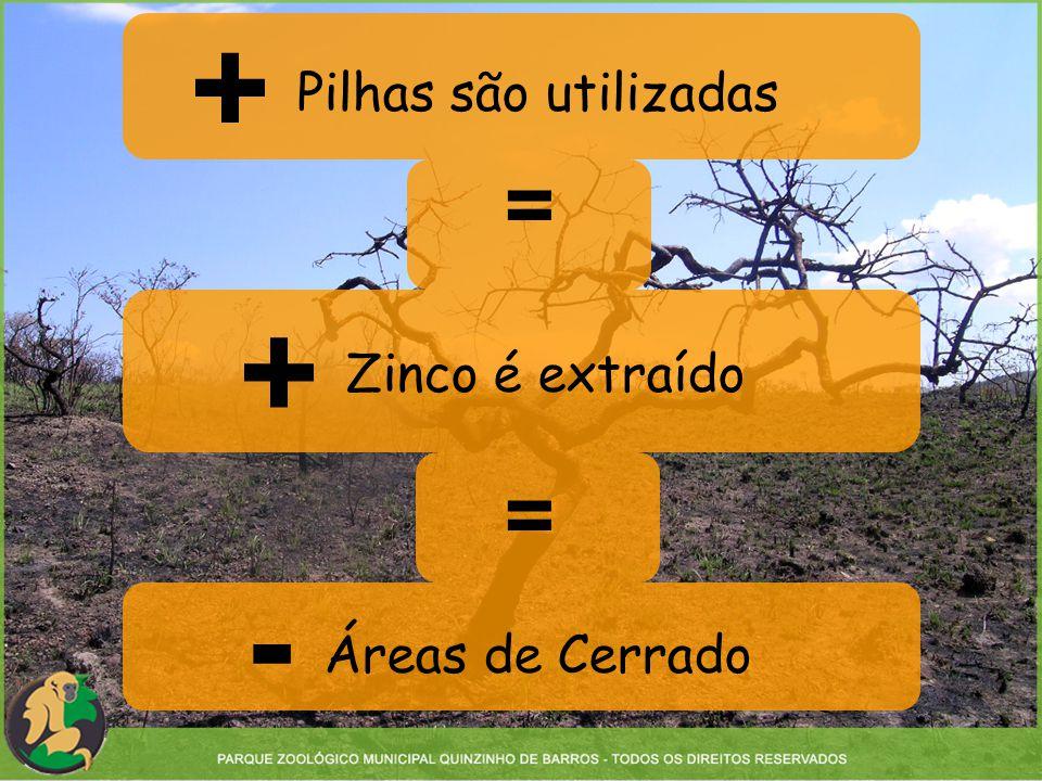 Pilhas são utilizadas Zinco é extraído Áreas de Cerrado = = + + -