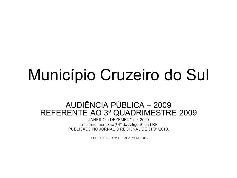 Município Cruzeiro do Sul AUDIÊNCIA PÚBLICA – 2009 REFERENTE AO 3º QUADRIMESTRE 2009 JANEIRO a DEZEMBRO de 2009 Em atendimento ao § 4º do Artigo 9º da