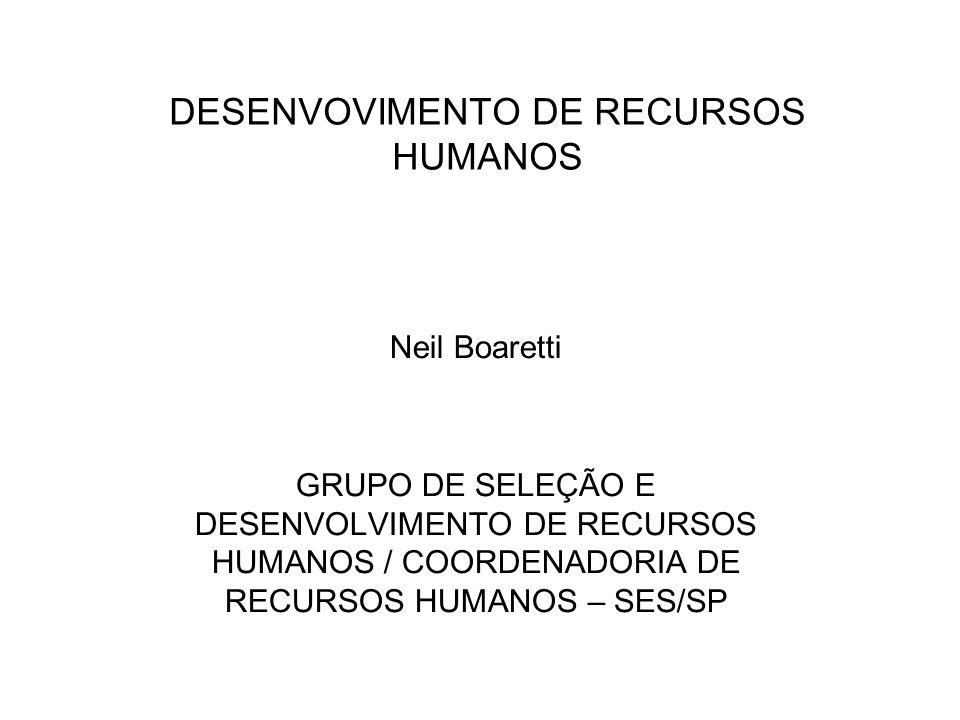 DESENVOVIMENTO DE RECURSOS HUMANOS Neil Boaretti GRUPO DE SELEÇÃO E DESENVOLVIMENTO DE RECURSOS HUMANOS / COORDENADORIA DE RECURSOS HUMANOS – SES/SP