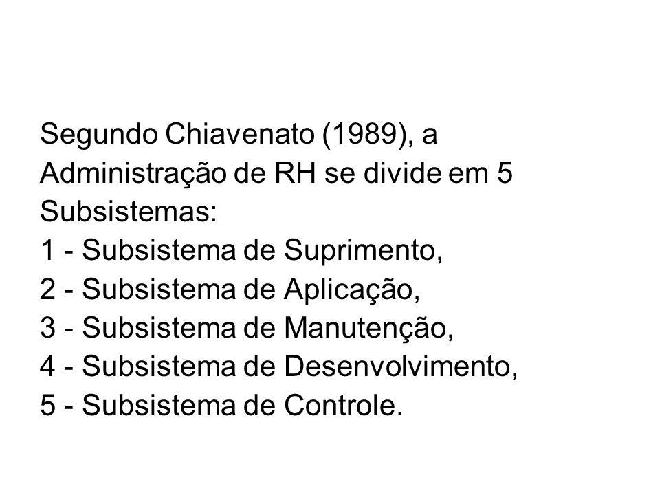 Segundo Chiavenato (1989), a Administração de RH se divide em 5 Subsistemas: 1 - Subsistema de Suprimento, 2 - Subsistema de Aplicação, 3 - Subsistema de Manutenção, 4 - Subsistema de Desenvolvimento, 5 - Subsistema de Controle.