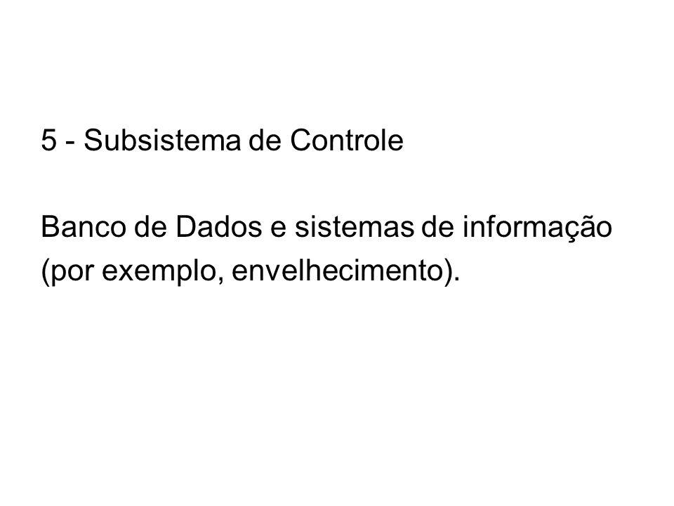 5 - Subsistema de Controle Banco de Dados e sistemas de informação (por exemplo, envelhecimento).