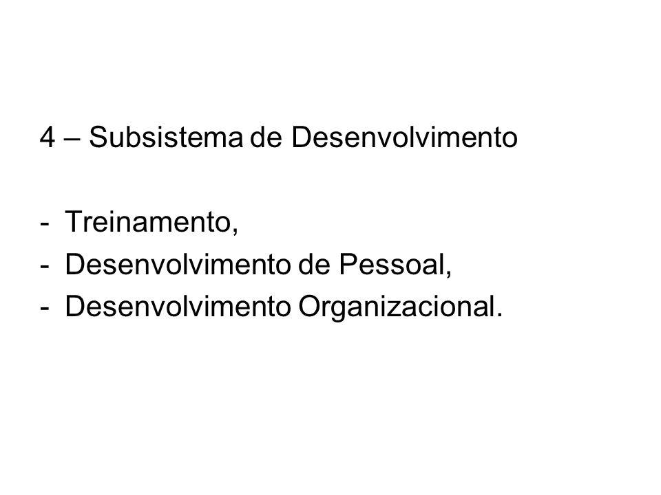 4 – Subsistema de Desenvolvimento -Treinamento, -Desenvolvimento de Pessoal, -Desenvolvimento Organizacional.