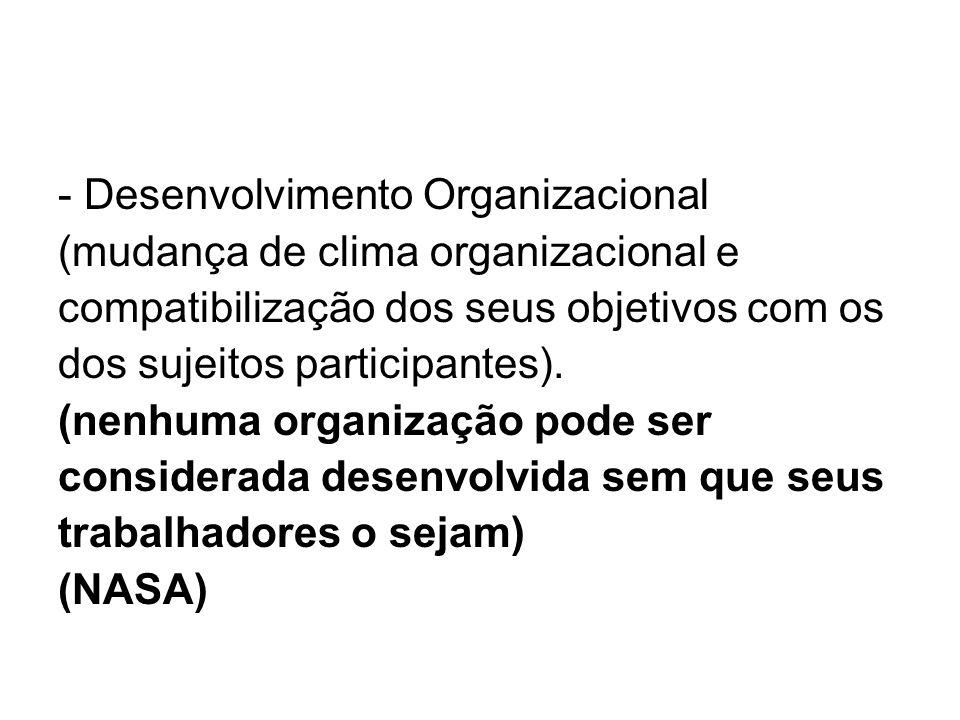 - Desenvolvimento Organizacional (mudança de clima organizacional e compatibilização dos seus objetivos com os dos sujeitos participantes).