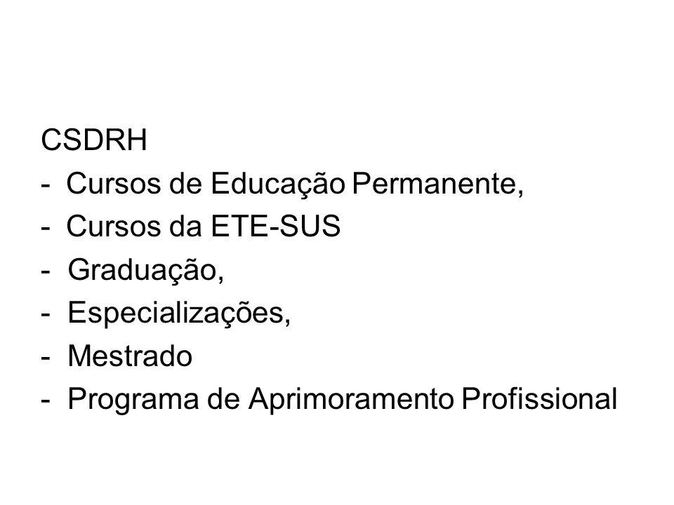 CSDRH -Cursos de Educação Permanente, -Cursos da ETE-SUS - Graduação, - Especializações, - Mestrado - Programa de Aprimoramento Profissional