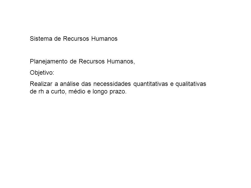 Sistema de Recursos Humanos Planejamento de Recursos Humanos, Objetivo: Realizar a análise das necessidades quantitativas e qualitativas de rh a curto, médio e longo prazo.