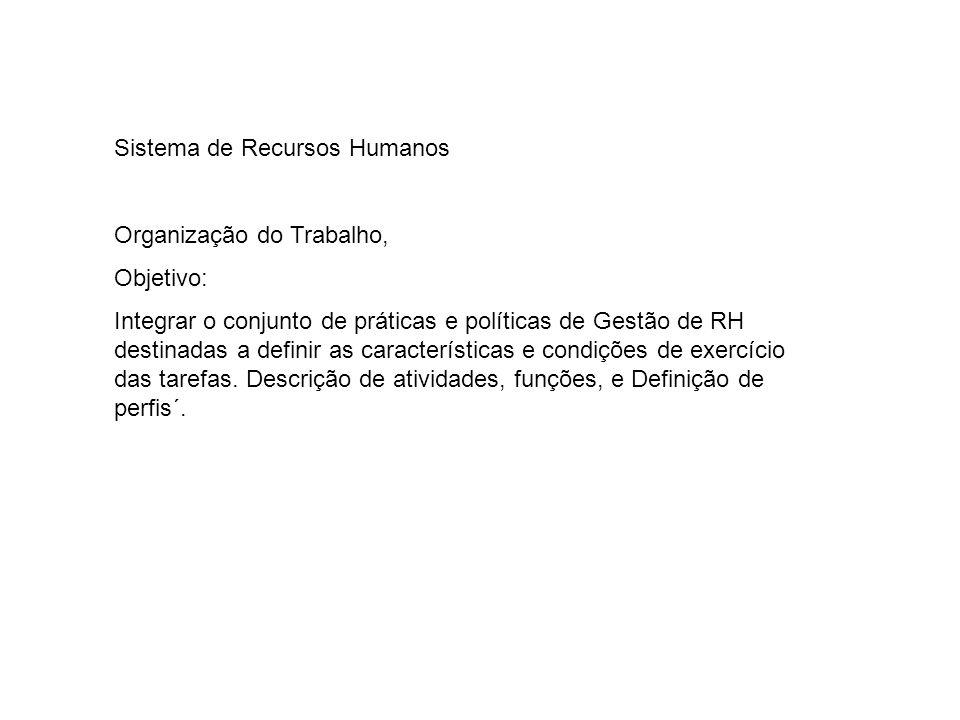 Sistema de Recursos Humanos Organização do Trabalho, Objetivo: Integrar o conjunto de práticas e políticas de Gestão de RH destinadas a definir as características e condições de exercício das tarefas.