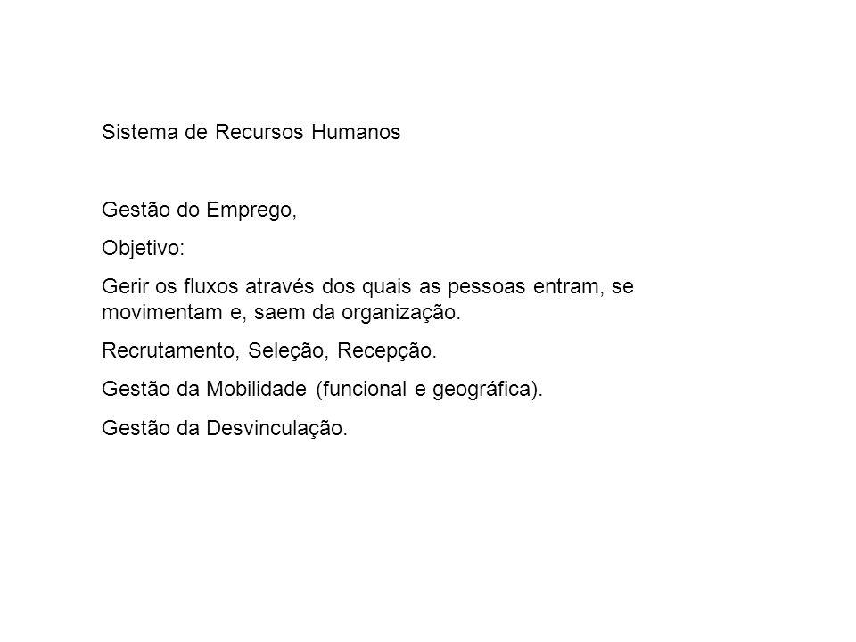 Sistema de Recursos Humanos Gestão do Emprego, Objetivo: Gerir os fluxos através dos quais as pessoas entram, se movimentam e, saem da organização. Re
