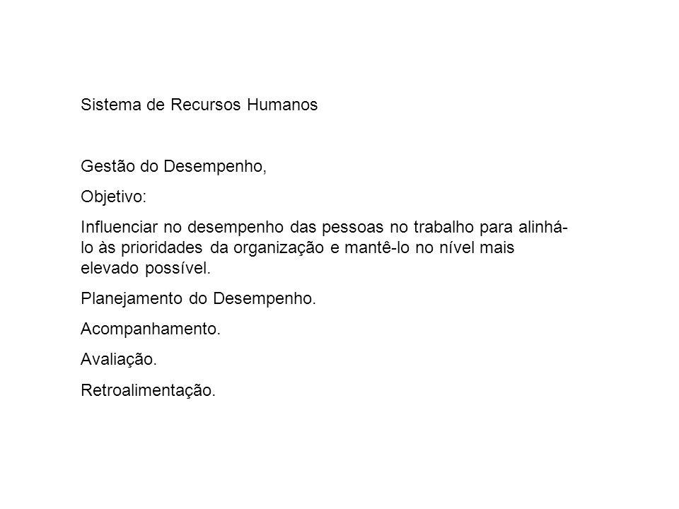 Sistema de Recursos Humanos Gestão do Desempenho, Objetivo: Influenciar no desempenho das pessoas no trabalho para alinhá- lo às prioridades da organi