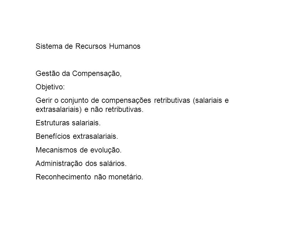 Sistema de Recursos Humanos Gestão da Compensação, Objetivo: Gerir o conjunto de compensações retributivas (salariais e extrasalariais) e não retribut