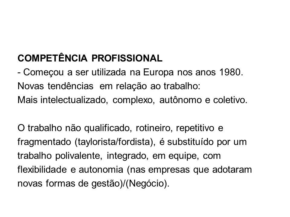 COMPETÊNCIA PROFISSIONAL - Começou a ser utilizada na Europa nos anos 1980. Novas tendências em relação ao trabalho: Mais intelectualizado, complexo,