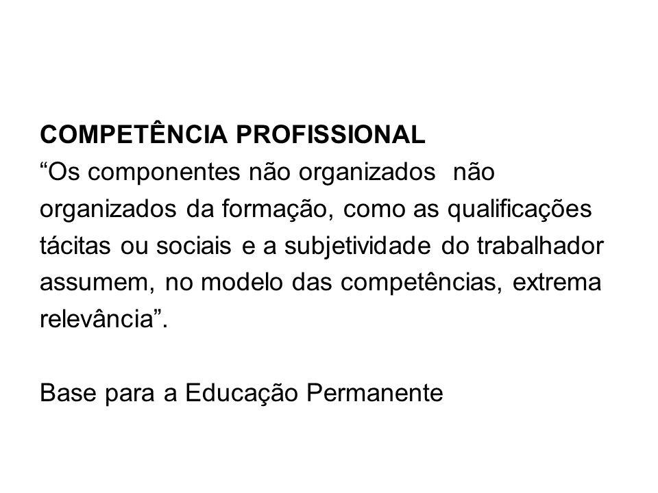 COMPETÊNCIA PROFISSIONAL Os componentes não organizados não organizados da formação, como as qualificações tácitas ou sociais e a subjetividade do trabalhador assumem, no modelo das competências, extrema relevância .