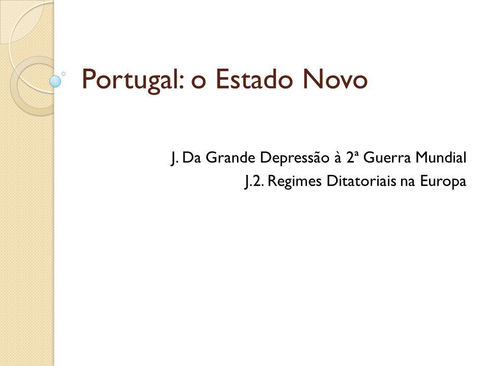 Portugal: o Estado Novo J. Da Grande Depressão à 2ª Guerra Mundial J.2. Regimes Ditatoriais na Europa