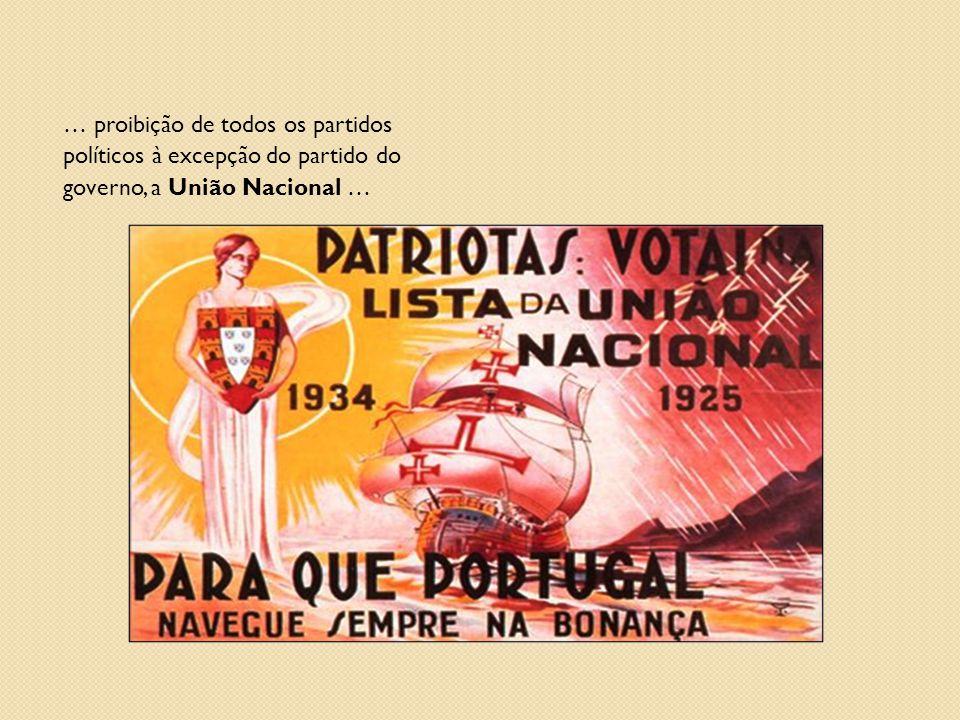 … proibição de todos os partidos políticos à excepção do partido do governo, a União Nacional …