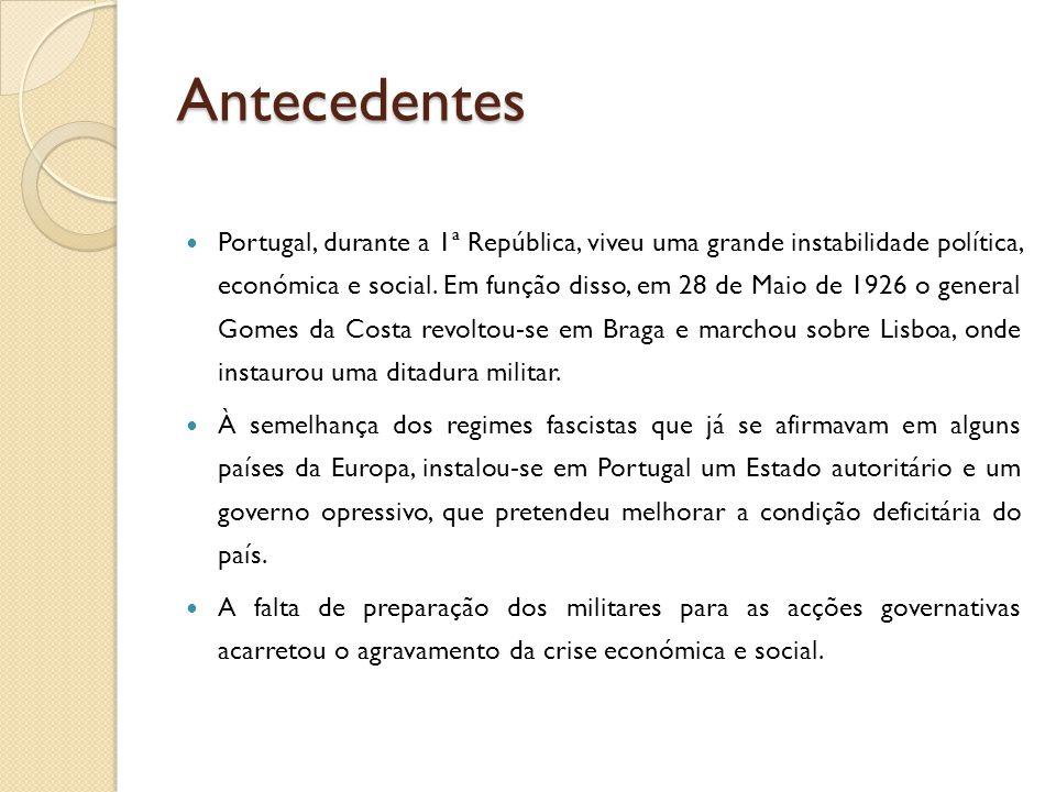 Antecedentes  Portugal, durante a 1ª República, viveu uma grande instabilidade política, económica e social. Em função disso, em 28 de Maio de 1926 o