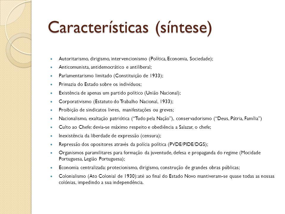 Características (síntese)  Autoritarismo, dirigismo, intervencionismo (Política, Economia, Sociedade);  Anticomunista, antidemocrático e antiliberal