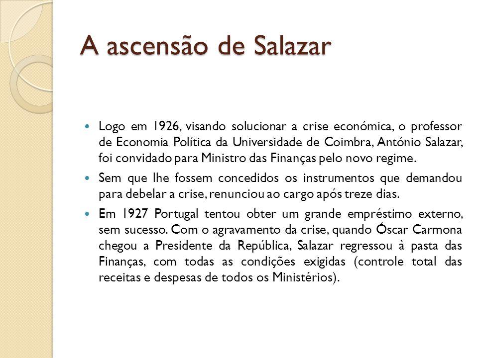 A ascensão de Salazar  Logo em 1926, visando solucionar a crise económica, o professor de Economia Política da Universidade de Coimbra, António Salaz