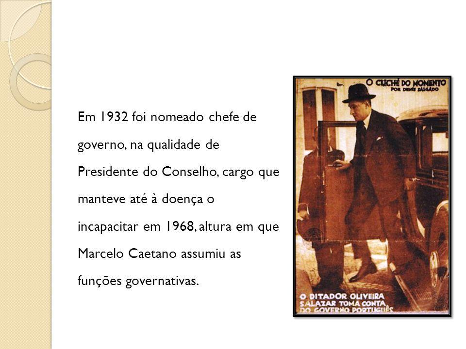 Em 1932 foi nomeado chefe de governo, na qualidade de Presidente do Conselho, cargo que manteve até à doença o incapacitar em 1968, altura em que Marc