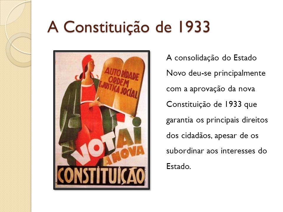 A Constituição de 1933 A consolidação do Estado Novo deu-se principalmente com a aprovação da nova Constituição de 1933 que garantia os principais dir