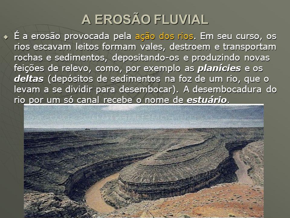 A EROSÃO FLUVIAL  É a erosão provocada pela ação dos rios. Em seu curso, os rios escavam leitos formam vales, destroem e transportam rochas e sedimen