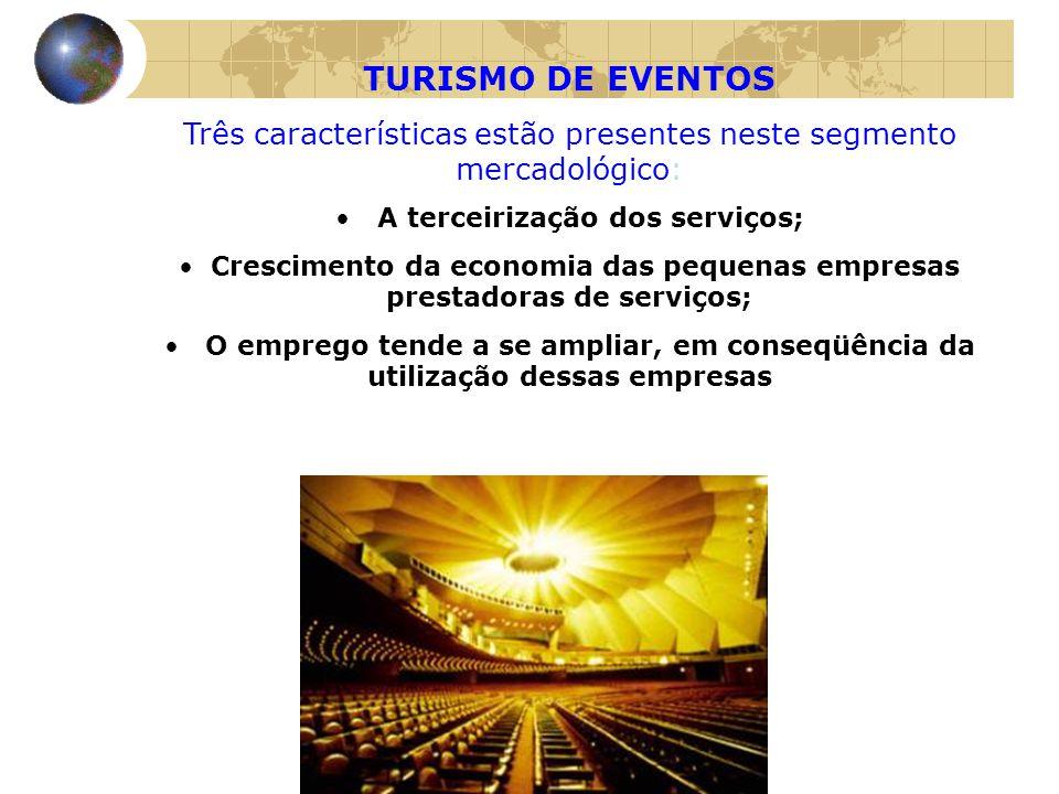 TURISMO DE EVENTOS Três características estão presentes neste segmento mercadológico: • A terceirização dos serviços; • Crescimento da economia das pe