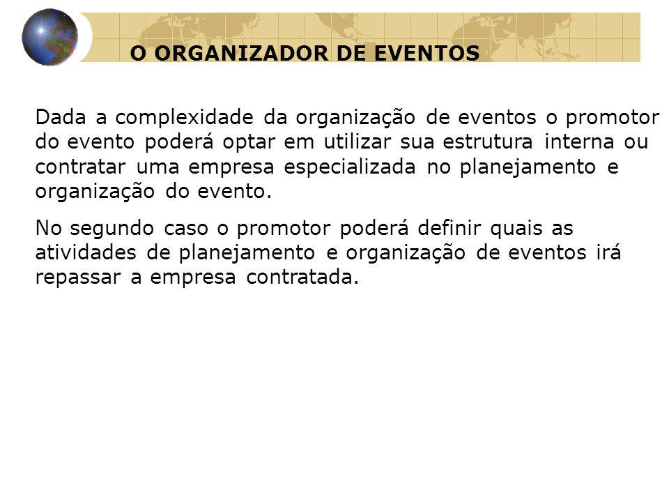 O ORGANIZADOR DE EVENTOS Dada a complexidade da organização de eventos o promotor do evento poderá optar em utilizar sua estrutura interna ou contrata