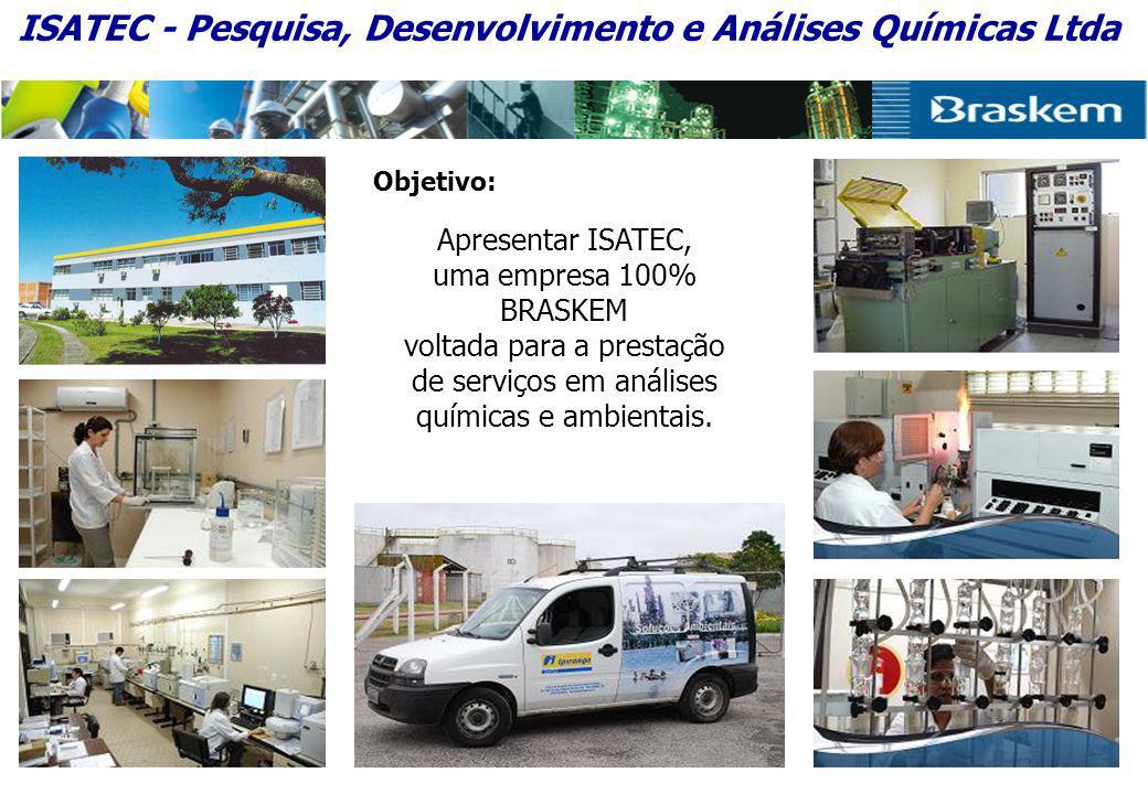 Objetivo: Apresentar ISATEC, uma empresa 100% BRASKEM voltada para a prestação de serviços em análises químicas e ambientais.