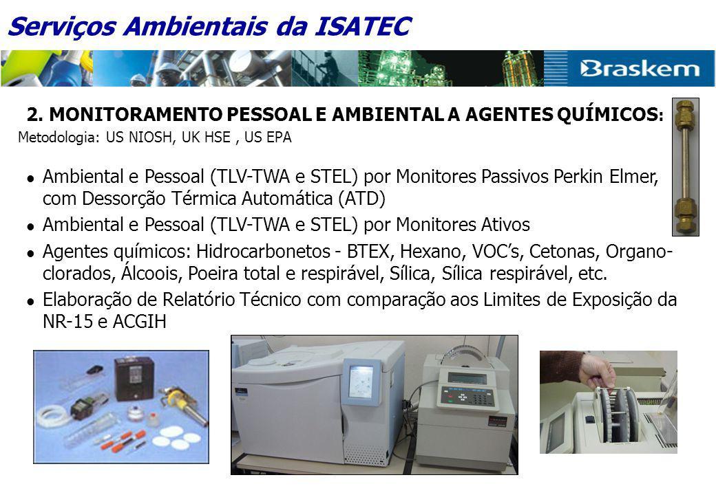 2. MONITORAMENTO PESSOAL E AMBIENTAL A AGENTES QUÍMICOS : Metodologia: US NIOSH, UK HSE, US EPA  Ambiental e Pessoal (TLV-TWA e STEL) por Monitores P