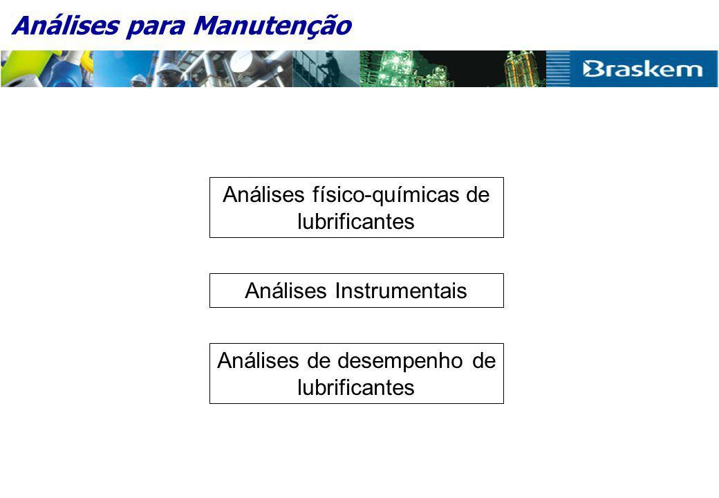 Análises para Manutenção Análises físico-químicas de lubrificantes Análises Instrumentais Análises de desempenho de lubrificantes