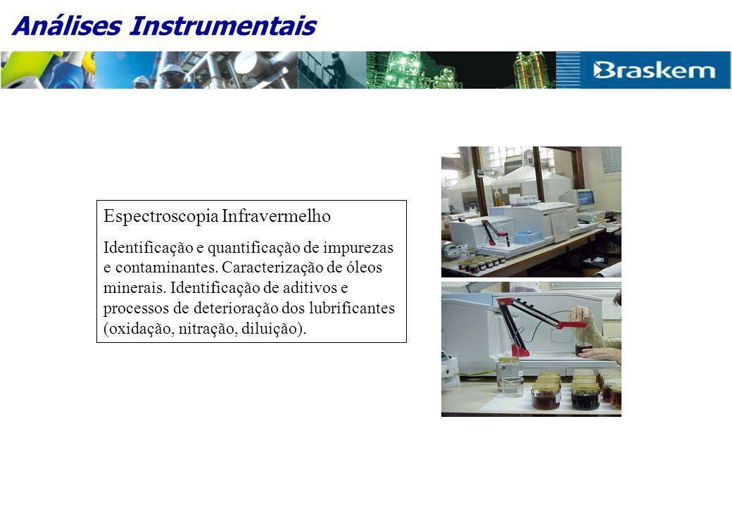 Análises Instrumentais Espectroscopia Infravermelho Identificação e quantificação de impurezas e contaminantes.