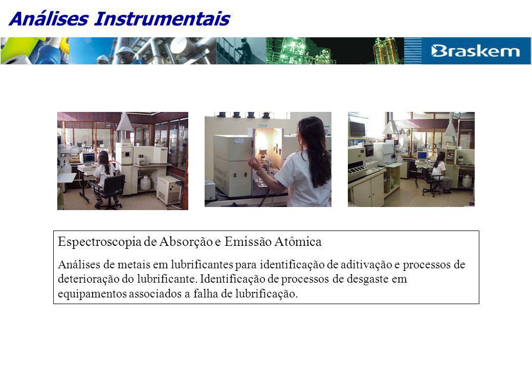 Análises Instrumentais Espectroscopia de Absorção e Emissão Atômica Análises de metais em lubrificantes para identificação de aditivação e processos de deterioração do lubrificante.