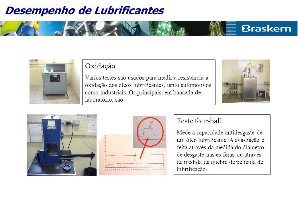 Desempenho de Lubrificantes Oxidação Vários testes são usados para medir a resistência a oxidação dos óleos lubrificantes, tanto automotivos como industriais.