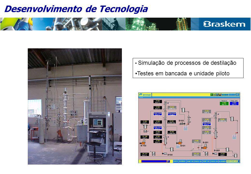 • Simulação de processos de destilação •Testes em bancada e unidade piloto