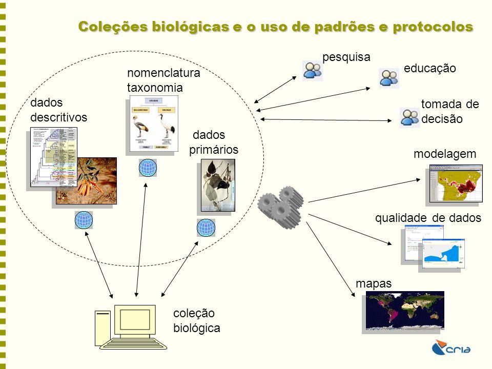 Coleções biológicas e o uso de padrões e protocolos dados descritivos nomenclatura taxonomia modelagem qualidade de dados mapas dados primários educaç