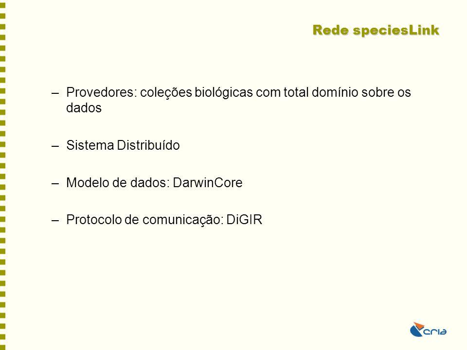 Rede speciesLink –Provedores: coleções biológicas com total domínio sobre os dados –Sistema Distribuído –Modelo de dados: DarwinCore –Protocolo de com
