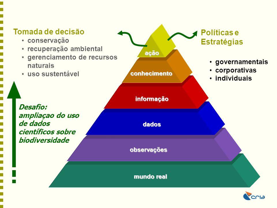 Construção do conhecimento sobre biodiversidade –Requer um ambiente de cooperação global –Depende de uma base comparativa de dados e de conhecimento –Coletiva, multi e inter-disciplinar