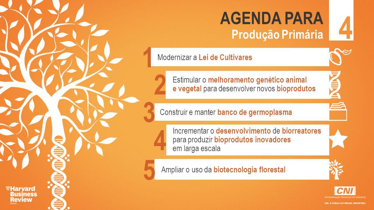 4 AGENDA PARA Produção Primária Modernizar a Lei de Cultivares Estimular o melhoramento genético animal e vegetal para desenvolver novos bioprodutos C