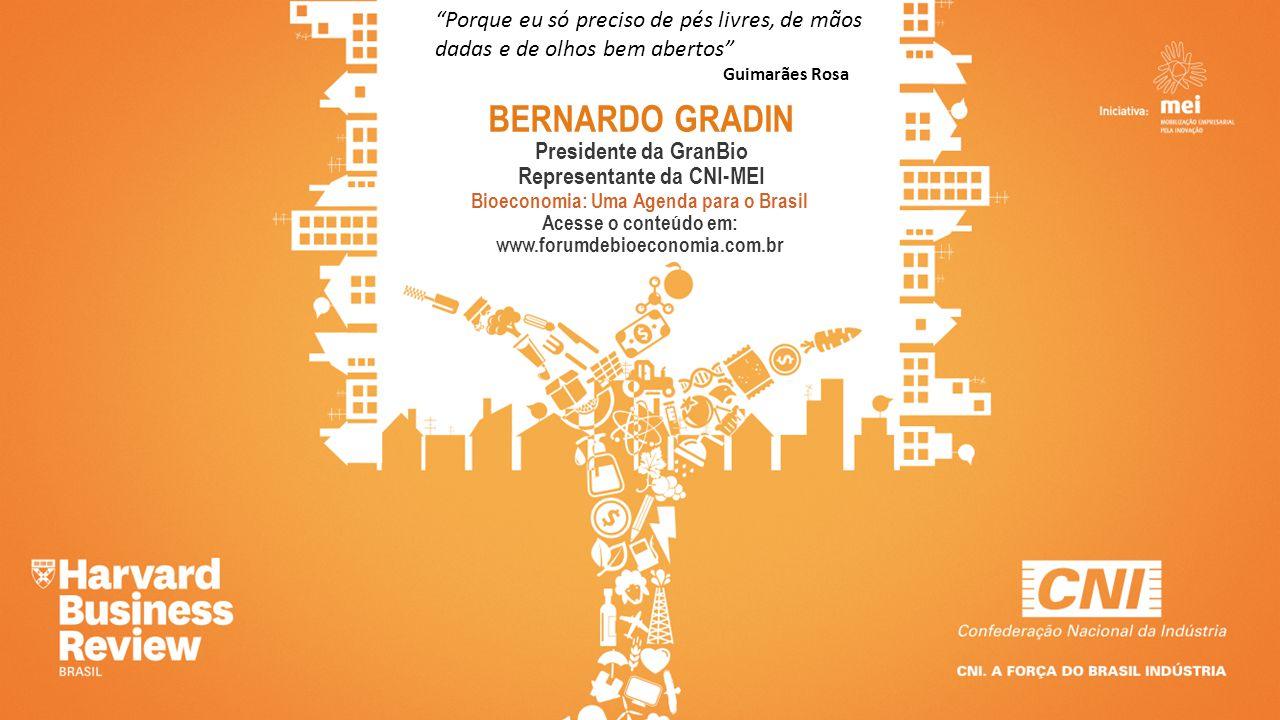 BERNARDO GRADIN Presidente da GranBio Representante da CNI-MEI Bioeconomia: Uma Agenda para o Brasil Acesse o conteúdo em: www.forumdebioeconomia.com.